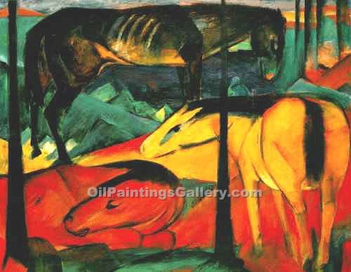 """The Three Horses"" by  Franz Marc"