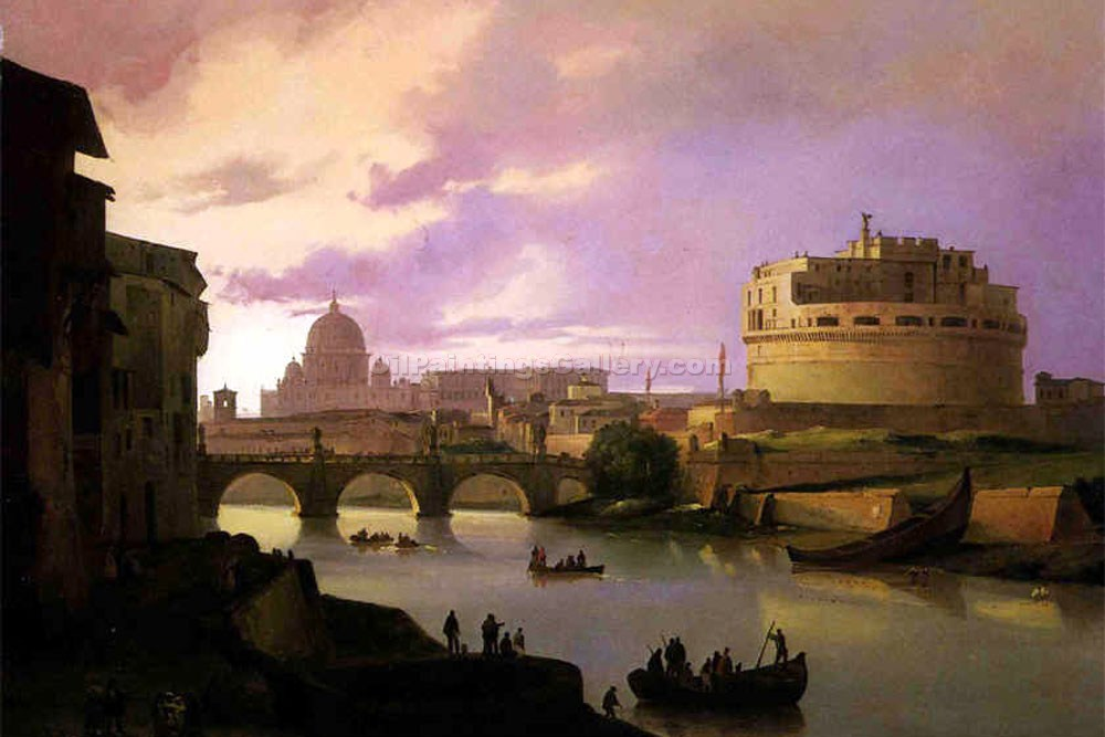 """The Tiber and Castle Sant"" by  Ippolito Caffi"