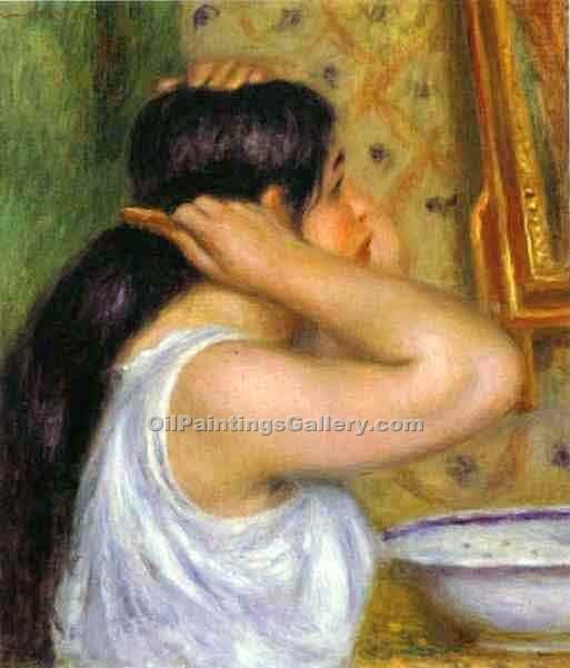 """The Toilette Woman Combing Her Hair"" by  Pierre Auguste Renoir"