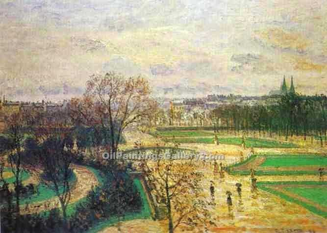 The Tuileries Gardens in Rain by Camille Pissarro | Modern Painting Gallery - Oil Paintings Gallery