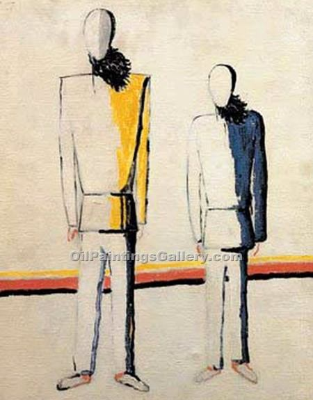 """The Two Farmers"" by  Kasimir Malevich"