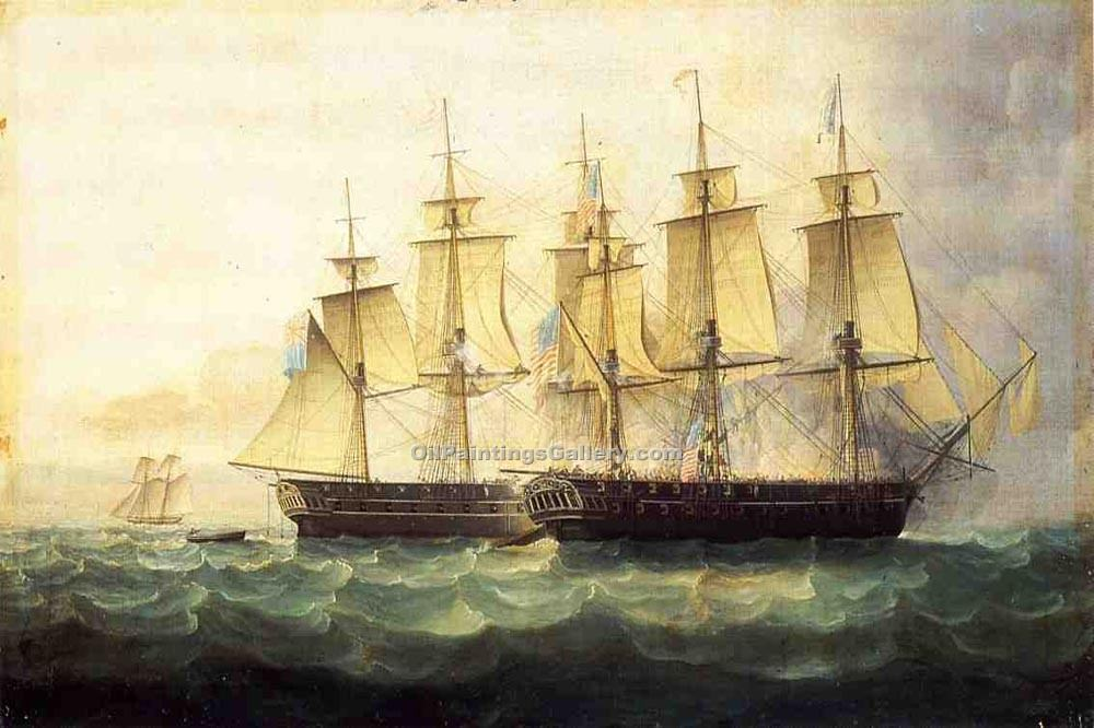 """The U.S.S. Chesapeake and the H.M.S. Shannon"" by  James E Buttersworth"