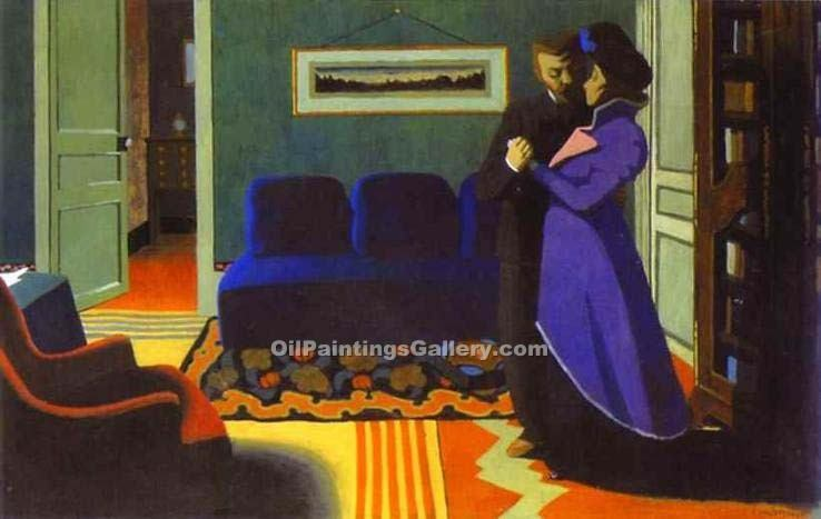 The Visit by Felix Vallotton | Contemporary Abstract Painting - Oil Paintings Gallery