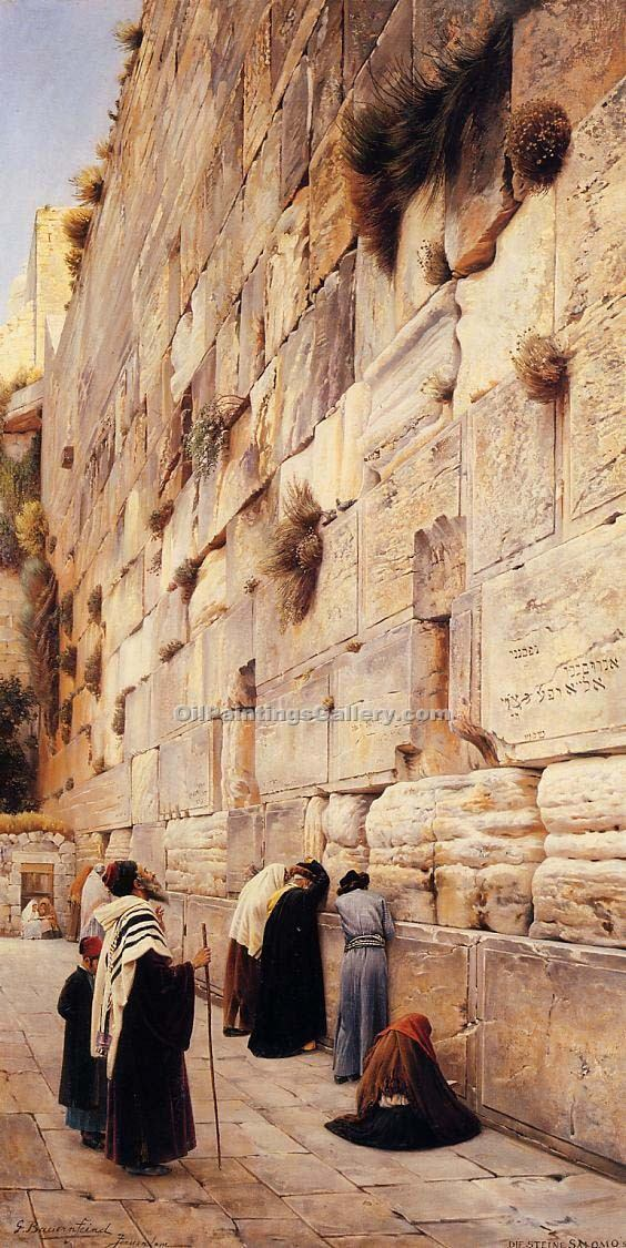 """The Wailing Wall Jerusalem 96"" by  Gustav Bauernfeind"