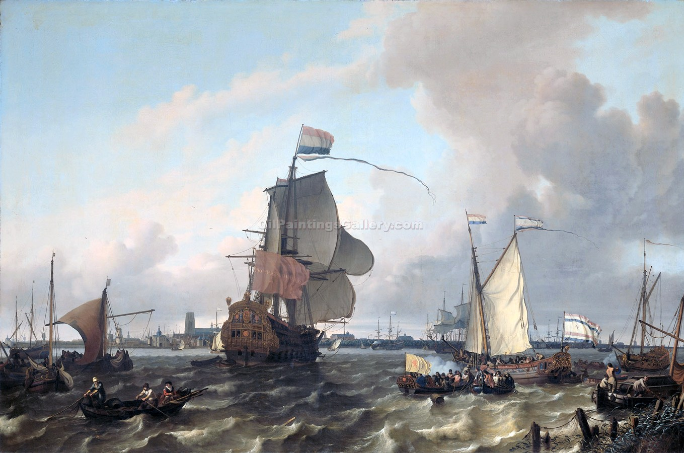 """The Warship Gabrielle Maglia on the Route to London"" by  Ludolf Backhuysen"