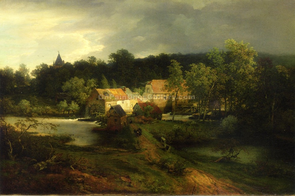 """The Watermill in the Village"" by  Andreas Achenbach"