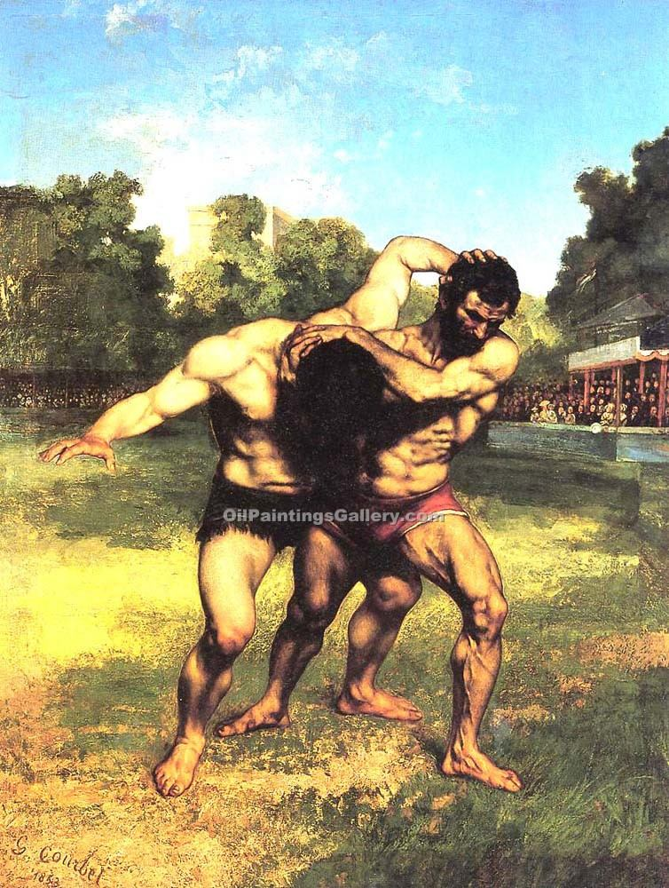 """The Wrestlers 10"" by  Gustave Courbet"