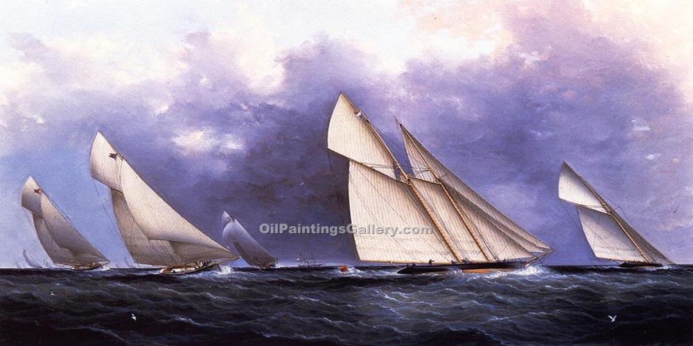 The Yacht Race by James E Buttersworth | Classical Paintings - Oil Paintings Gallery
