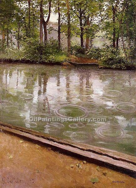 """The Yerres, Rain"" by  Gustave Caillebotte"