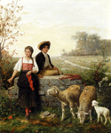 The Young Sheep Tenders by  Hubert Salentin (Painting ID: ED-0384-KA)