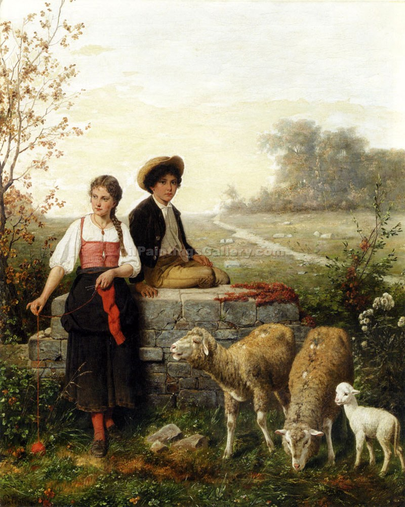 """The Young Sheep Tenders"" by  Hubert Salentin"