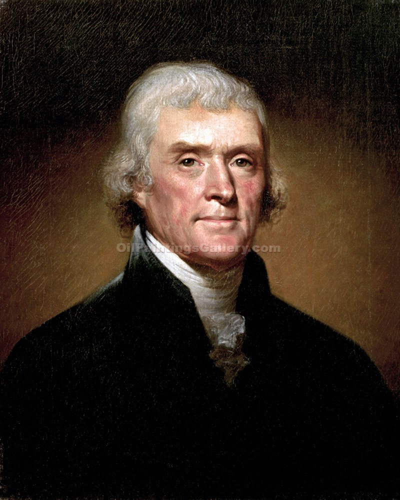 """Thomas Jefferson, 3rd President, Painted by Rembrandt Peale"""