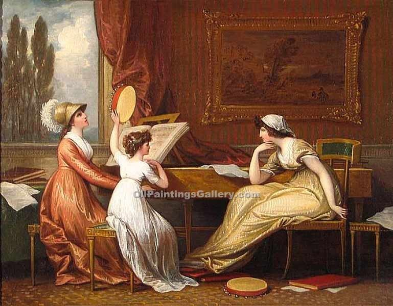 Three Ladies Making Music by Benjamin West | Abstract Acrylic Paintings - Oil Paintings Gallery