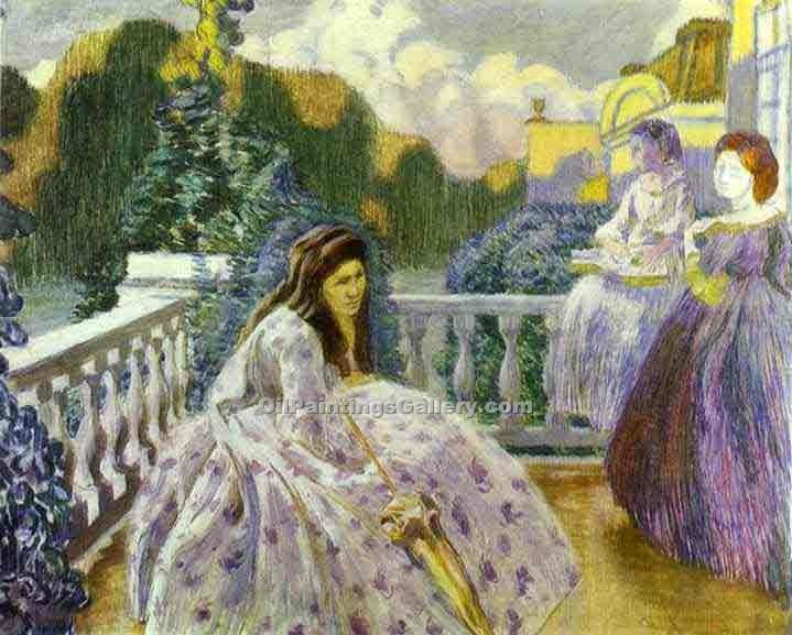 """Three Ladies on the Terrace"" by  Victor Borisov Musatov"