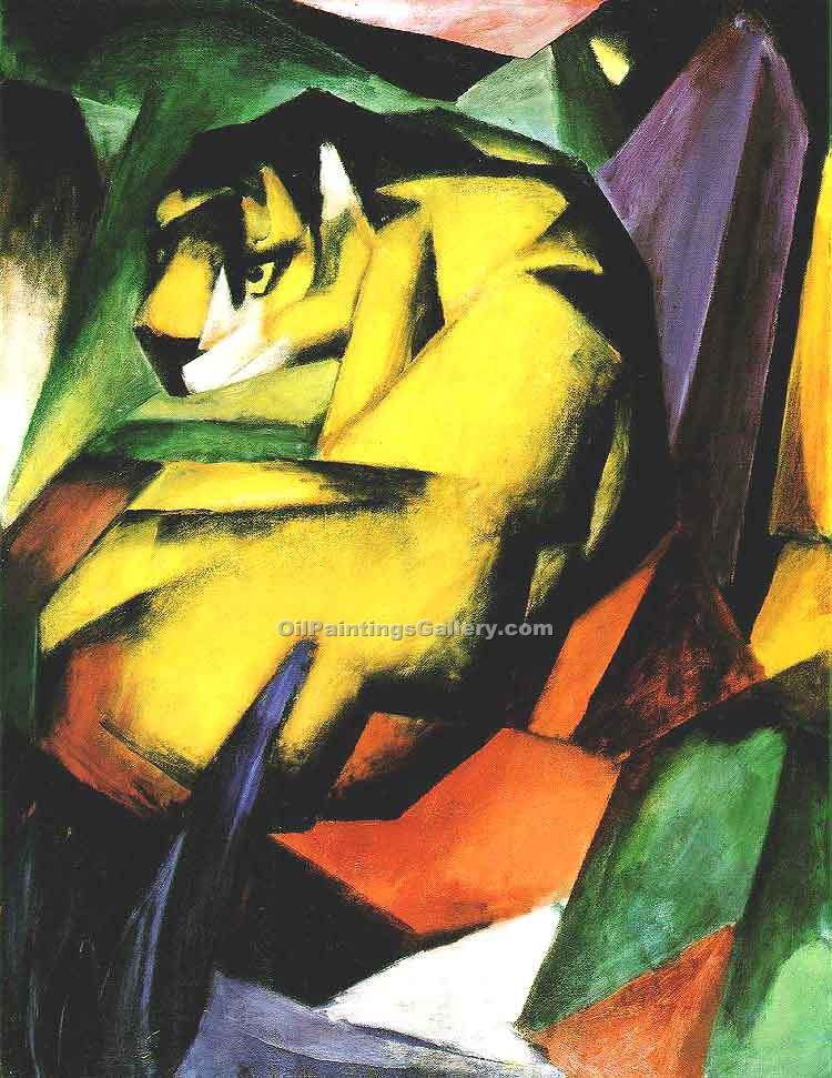 Tiger by Franz Marc | Oil Painting Landscapes - Oil Paintings Gallery