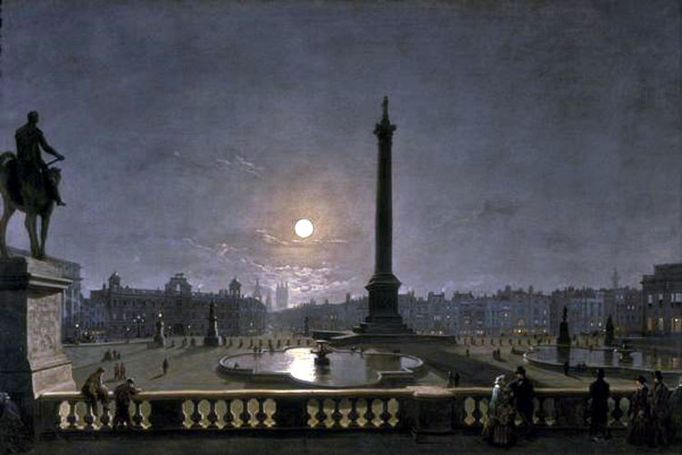 Trafalgar Square by Moonlight by Henry Pether | Canvas Paintings - Oil Paintings Gallery