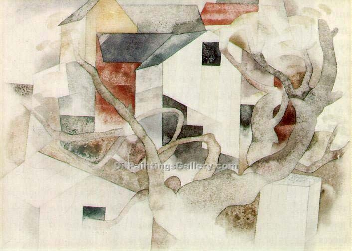 """Trees and Barns Bermuda"" by  Charles Demuth"