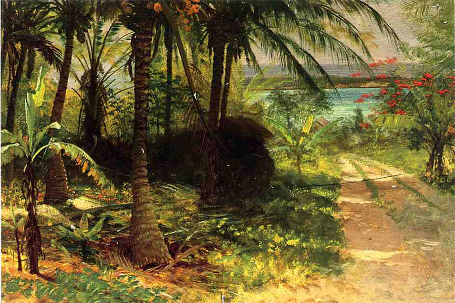 """Tropical Landscape"" by  Albert Bierstadt"