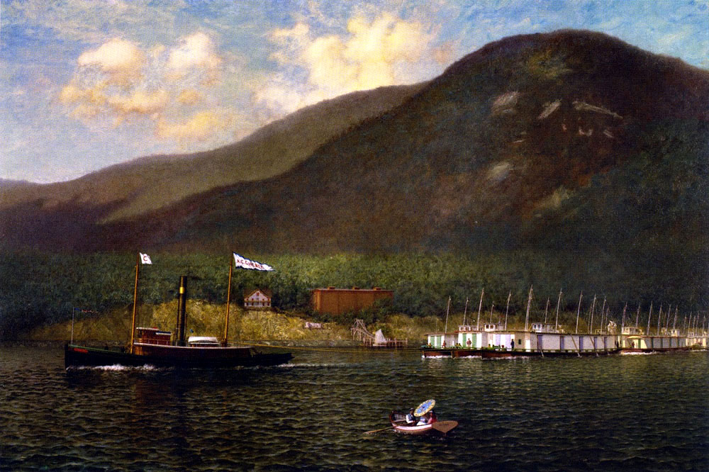 """Tug A.C. Cheney Towing Barges Past Bear Mountain"" by  James Gale Tyler"