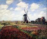 Tulip Fields With the Rijnsburg Windmill by  Claude Monet (Painting ID: MO-0896-KA)
