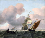 Turbulent Sea with Ships  by  Ludolf Backhuysen (Painting ID: LA-0485-KA)