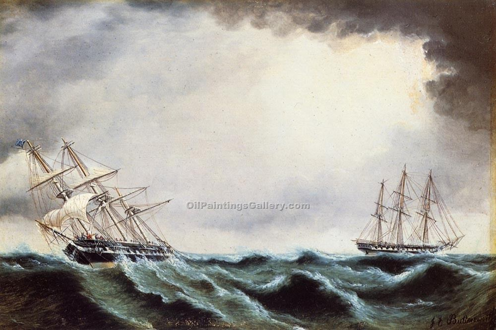 """Two Clipper Ships"" by  James E Buttersworth"