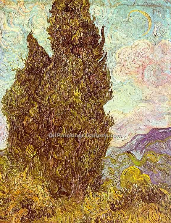 """Two Cypress"" by  Vincent Van Gogh"
