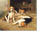 Two Foxhound Couples in a Kennel Oil Painting (ID: AN-0419-A)
