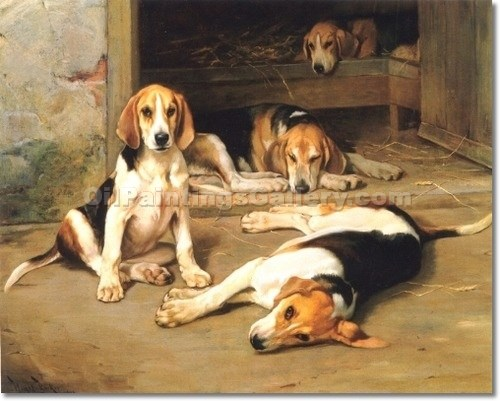 """Two Foxhound Couples in a Kennel"" by  Wright Barker"