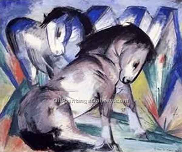 Two Horses 63 by Franz Marc | Modern Art Artists - Oil Paintings Gallery