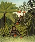 Two Monkeys in the Jungle by  Henri Rousseau (Painting ID: RO-0158-KA)