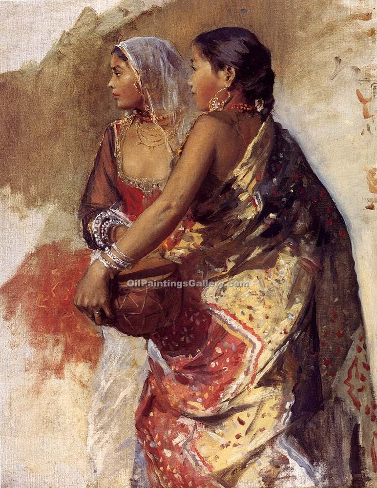 Two Nautch Girls by Edwin Lord Weeks | Black And White Painting - Oil Paintings Gallery