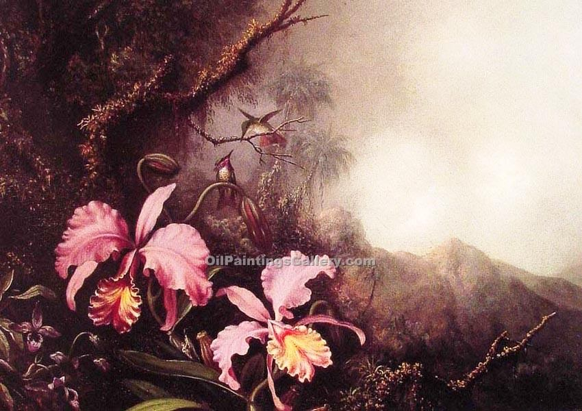 """Two Orchids in a Mountain Landscape"" by  Martin Johnson Heade"