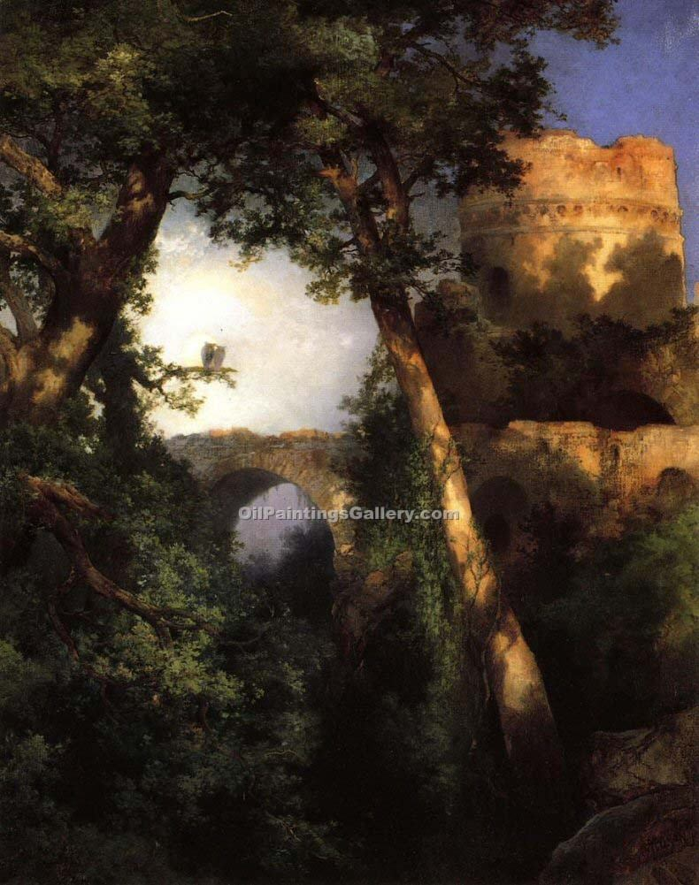 Two Owls by Thomas Moran | Paintings On Canvas - Oil Paintings Gallery