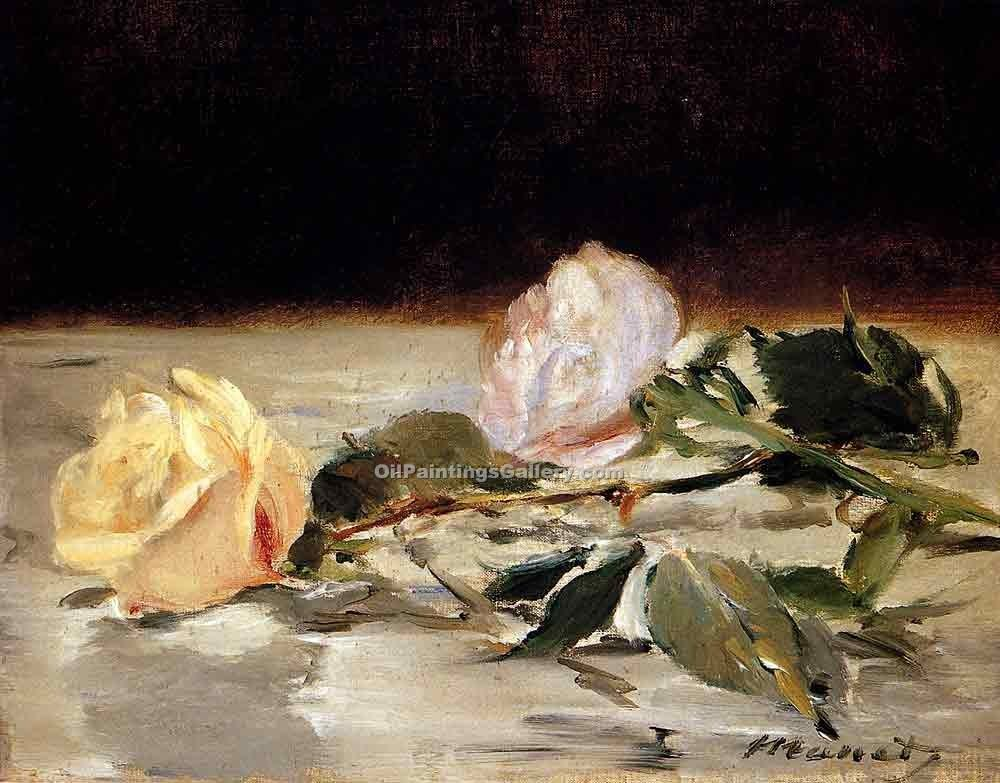 """Two Roses on a Tablecloth"" by  Edouard Manet"