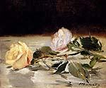 Two Roses on a Tablecloth by  Edouard Manet (Painting ID: SL-0103-KA)