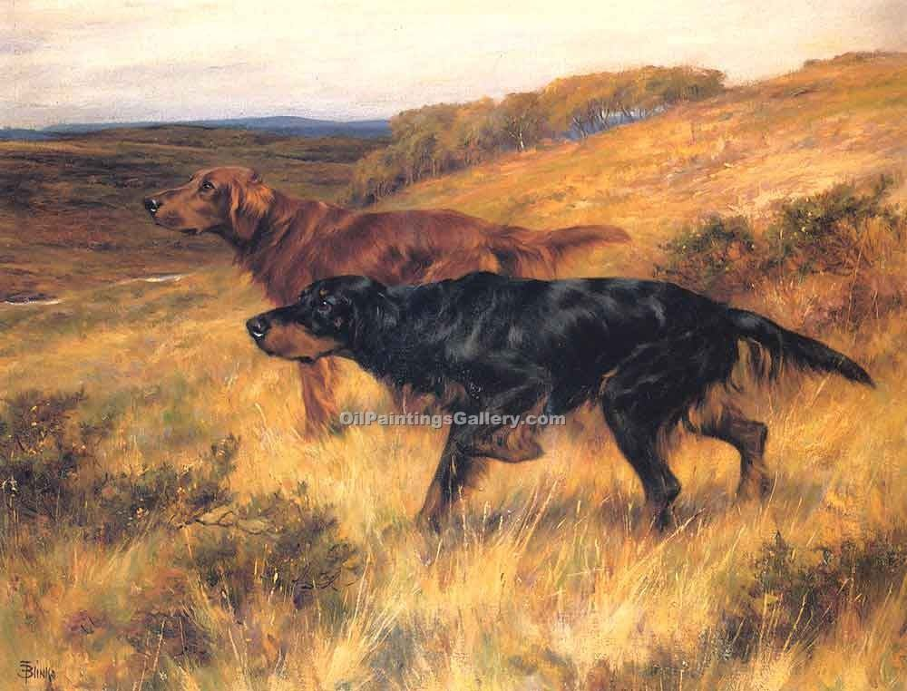 """Two Setters in a Landscape"" by  Thomas Blinks"