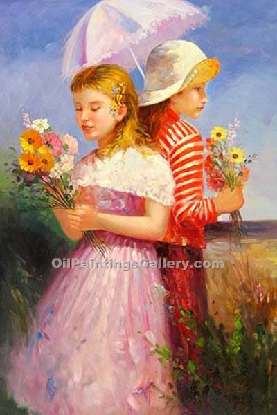 Buy Figure and Portrait Oil Painting Online - Figurative Reproduction Paintings - Two Sisters 29