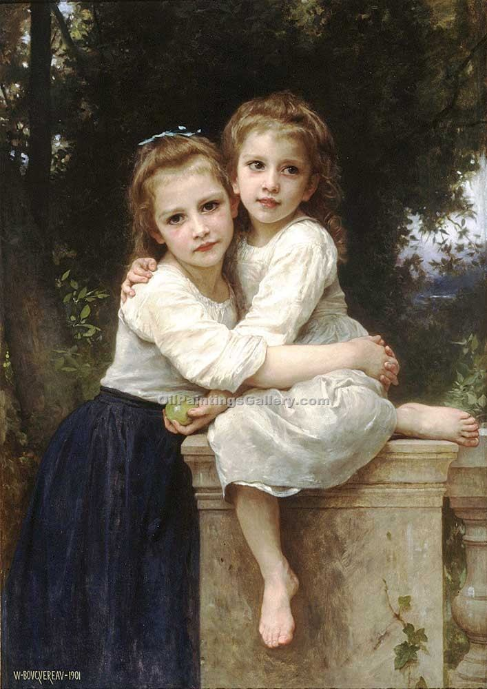 Two Sisters 32 by Bouguereau Adolphe | Oil Paintings Portraits - Oil Paintings Gallery
