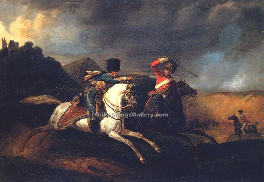"""Two Soldiers on Horseback"" by  Horace Vernet"