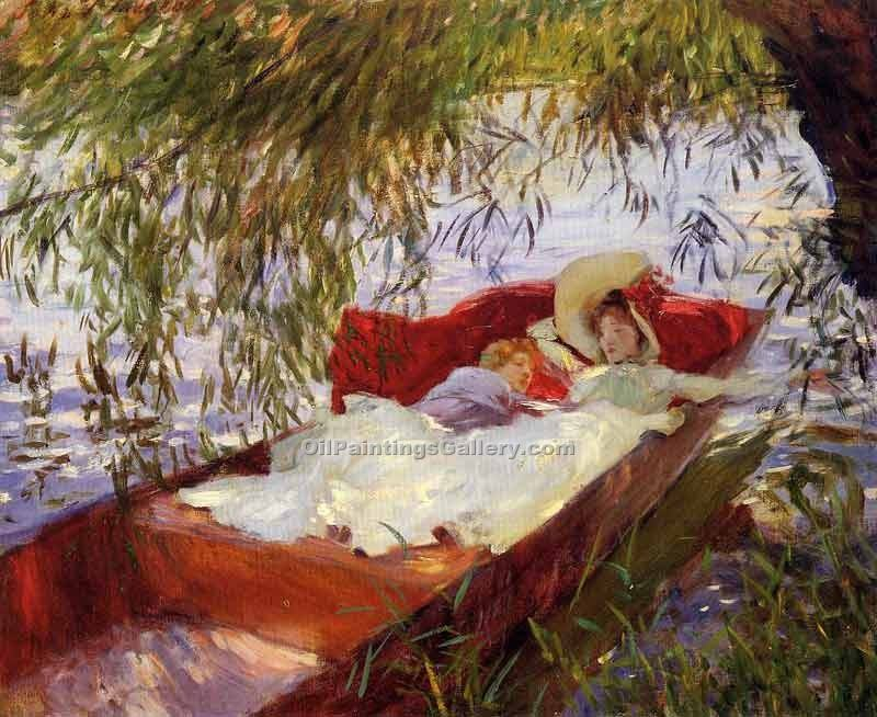 """Two Women Asleep in a Punt under the Willows"" by  John Singer Sargent"