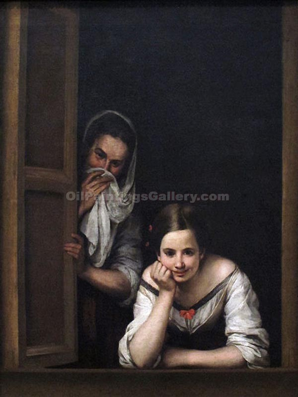 Two Women at a Window by Murillo Bartolome Esteban | Portraits Painting On Canvas - Oil Paintings Gallery