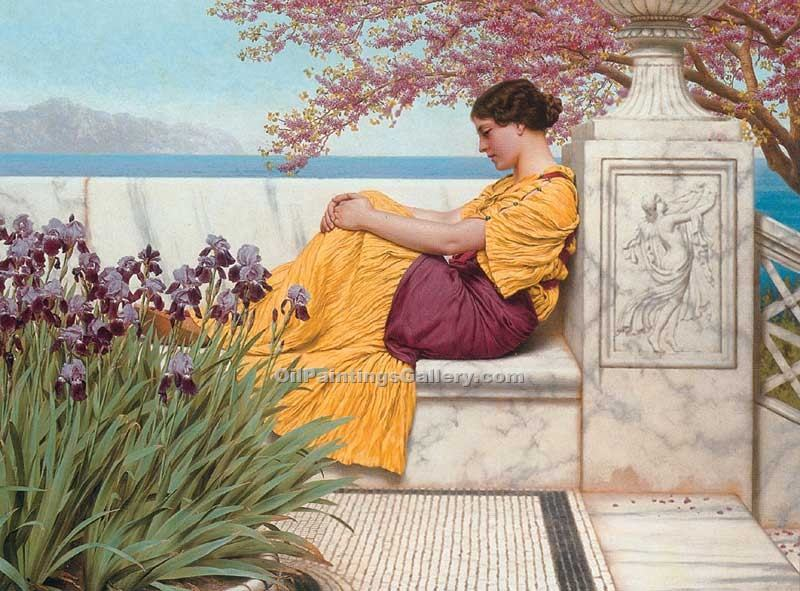 """Under the Blossom that Hangs on the Bough"" by  John William Godward"