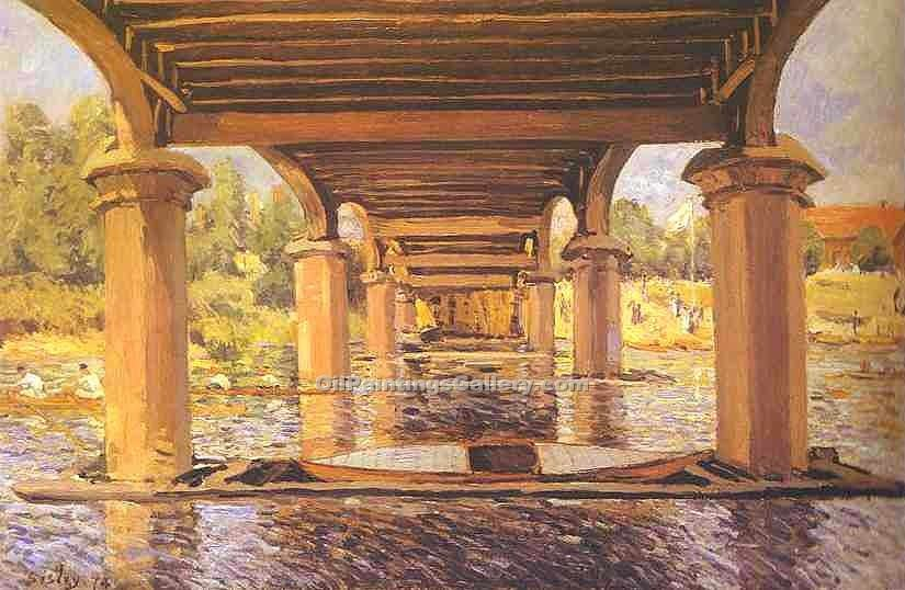 """Under the Bridge at Hampton Court"" by  Alfred Sisley"