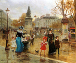 Une Place Animee a Paris by  Joaquin Y Allustante Pallarese (Painting ID: CI-0054-KA)
