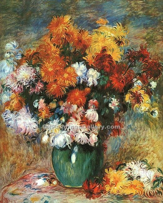 """Vase of Chrysanthemums"" by  Pierre Auguste Renoir"