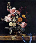 Vase of Flowers with Pocket Watch by  Willem van Aelst (Painting ID: SL-0244-KA)