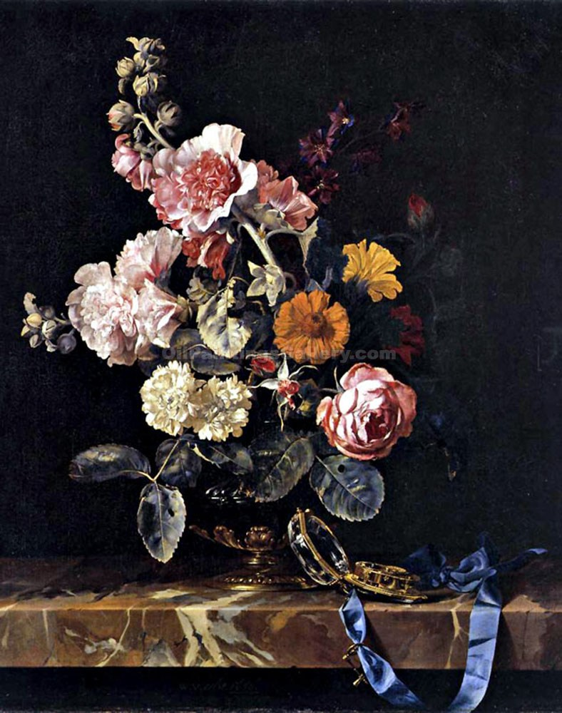 Vase of Flowers with Pocket Watch by Willem Van Aelst | Portrait Paintings - Oil Paintings Gallery