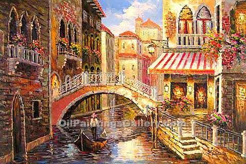 Buy City Oil Paintings Online | Realism & Naturalism styles | Venetian Bridge 18