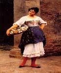 Venetian Flower Seller by  Eugene de Blaas (Painting ID: EI-0554-KA)